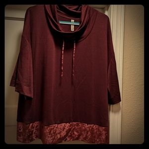 Lane Bryant Cacique Burgundy Top Size 18/20 NWT